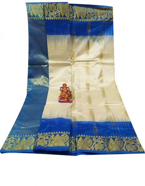 Blue and off white all body buti designer Kanjivaram silk saree