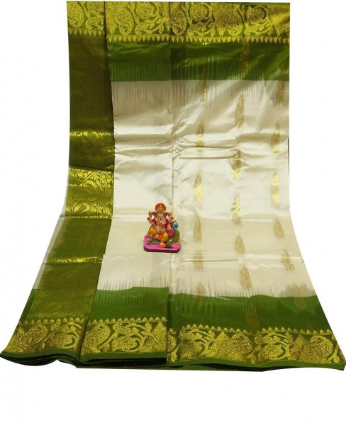 White and green all body buti designer Kanjivaram silk saree