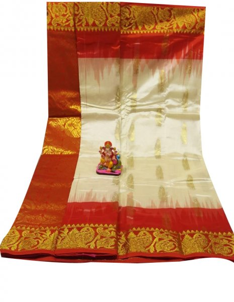 Red and white all body buti designer Kanjivaram silk saree