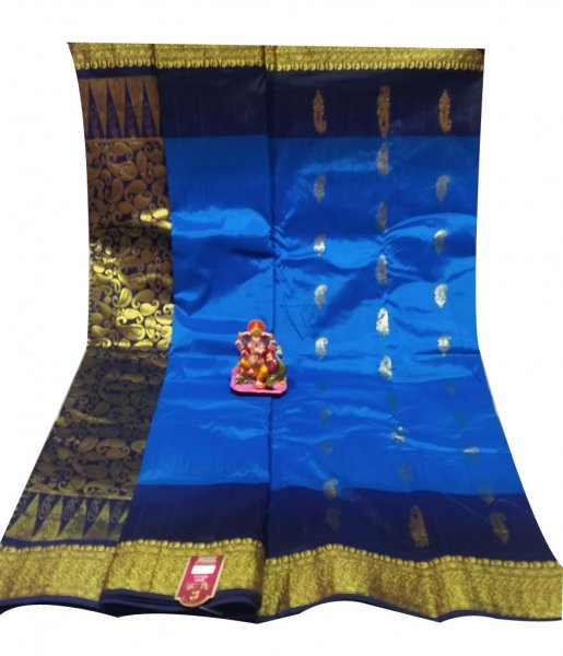 Blue and Oxford blue all body buti designer Kanjivaram silk Saree