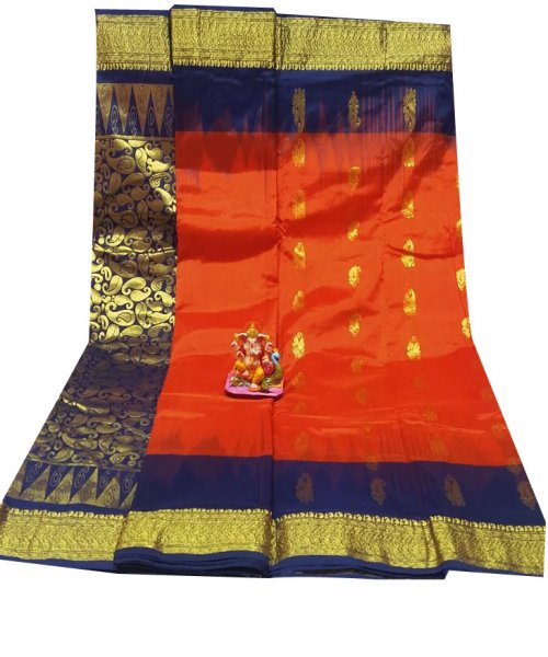 Orange and Deep blue all body buti designer Kanjivaram silk Saree
