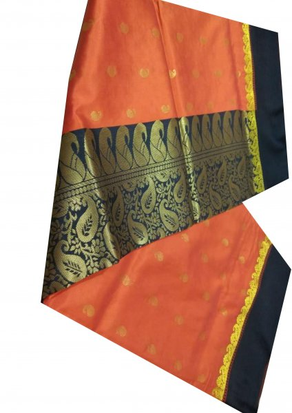 black and orange linen  jamdani saree