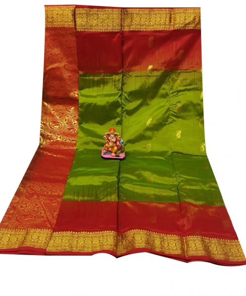 Khaki green and Red  all body buti designer kanjivaram silk Saree