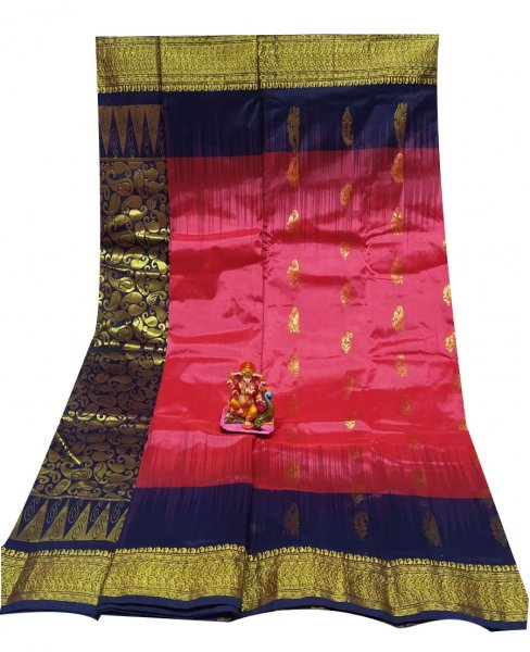 Deep blue and watermelon pink all body buti designer Kanjivaram silk Saree