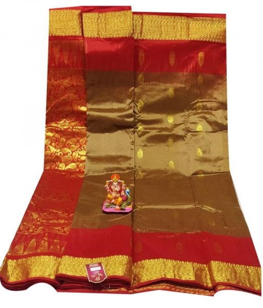 Clay and Maroon all body buti designer Kanjivaram silk saree