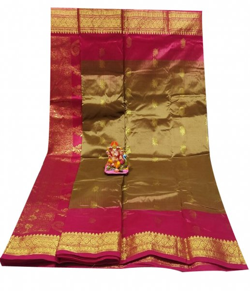Clay and pink all body buti designer Kanjivaram silk saree