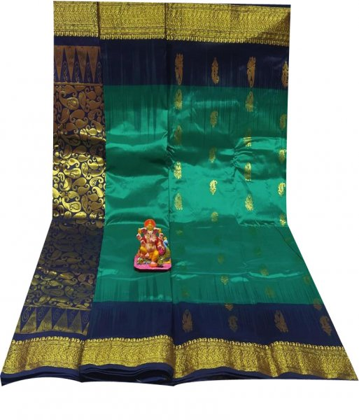 Deep blue and Jade green  all body buti designer Kanjivaram silk saree