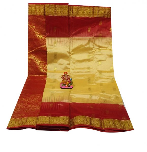 Cream and maroon all body buti designer Kanjivaram silk saree