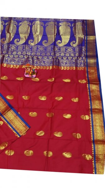 Maroon and blue designer kalka  kanjivaram silk saree