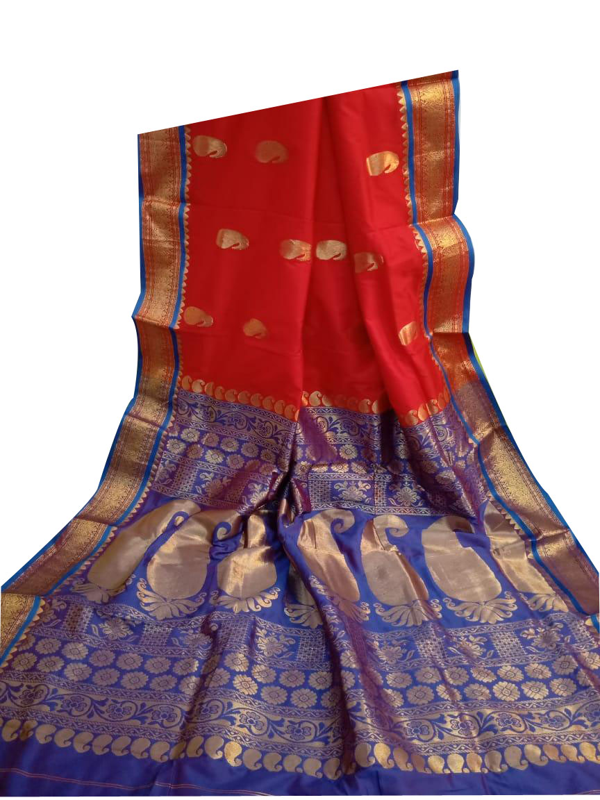 Red and blue designer kalka kanjivaram silk saree