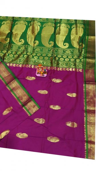 Purple and green designer kalka kanchipuram silk saree