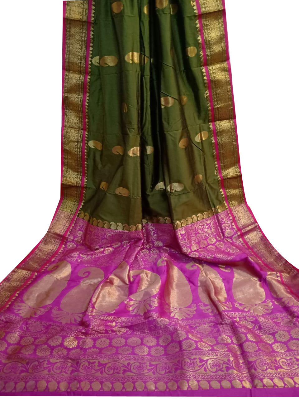 Pink and deep green designer kalka kanjivaram silk saree