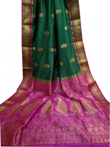 Bottle green and pink designer kalka kanchipuram silk saree