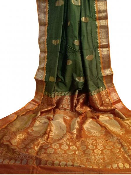 Khaki green and orange designer  kalka kanchipuram silk saree
