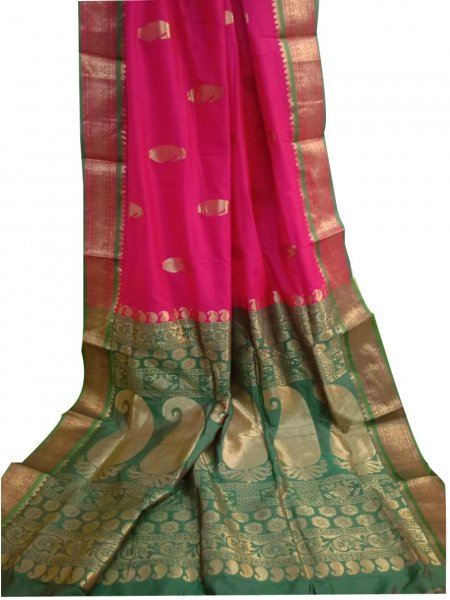 Rose pink and deep green designer kalka kanchipuram silk saree