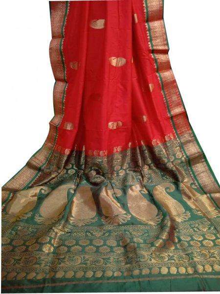 Red and deep green designer  kalka kanchipuram silk saree