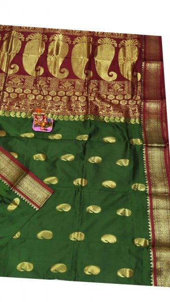 Green and maroon designer kalka kanjivaram silk saree