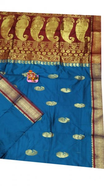 Blue and maroon designer kalka  kanjivaram silk saree