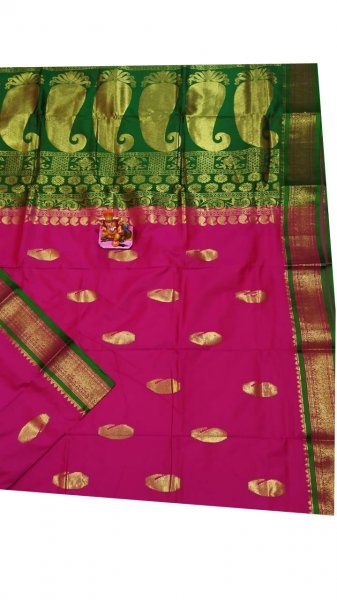 Green and rose pink designer kalka kanchipuram silk saree