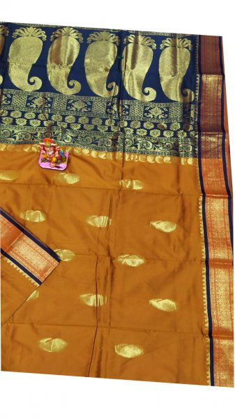 Flaxen yellow and blue designer kalka kanchipuram silk saree