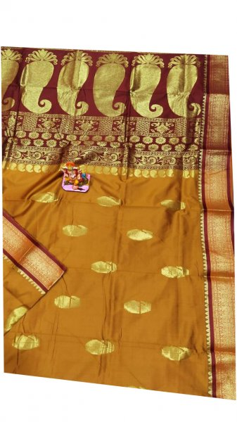 Flaxen yellow and maroon designer kalka kanchipuram silk saree