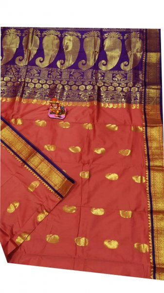 Onion pink and blue designer kalka kanchipuram silk saree