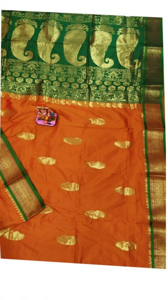 Orange and green designer kalka kanchipuram silk saree