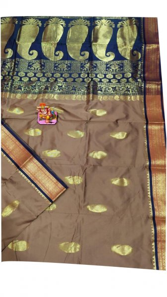 Clay and blue designer kalka kanchipuram silk saree