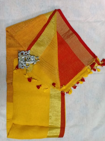 Yelow color with red border linen saree