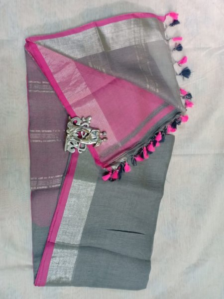 Grey color with pink border linen saree