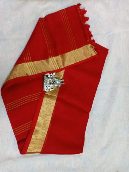 Red color with golden border linen silk saree