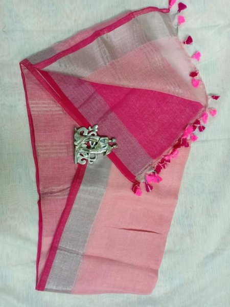 Light pink color with light grey border linen saree