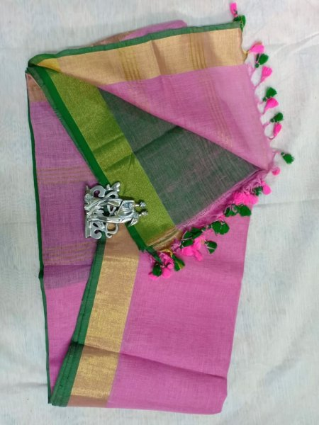 Pink color with golden border linen saree