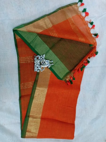 Orange color with golden border linen saree