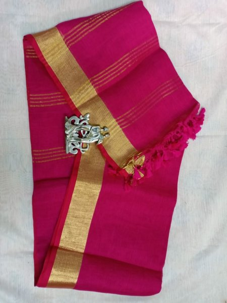 Dark pink color with golden border linen saree