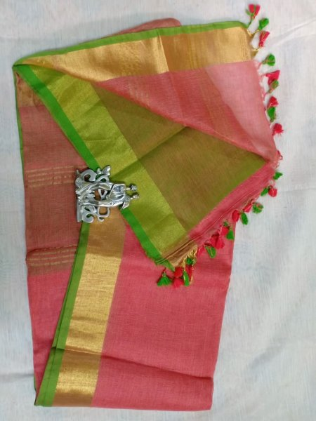 Light maroon color with golden border linen saree