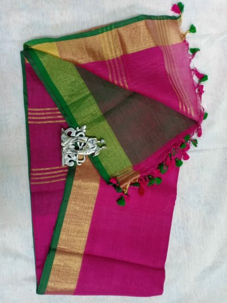 Violet pink color with golden border linen saree