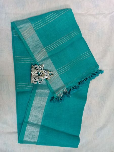 Sky blue color with grey border linen saree