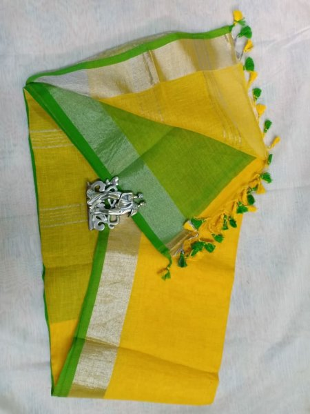Yellow color with grey border linen saree