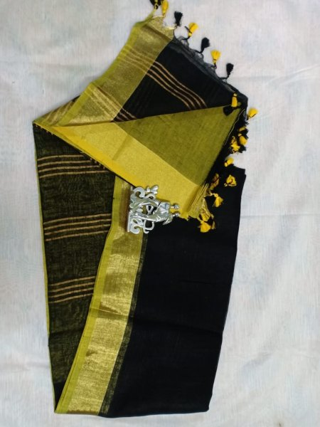 Black color with golden border linen saree