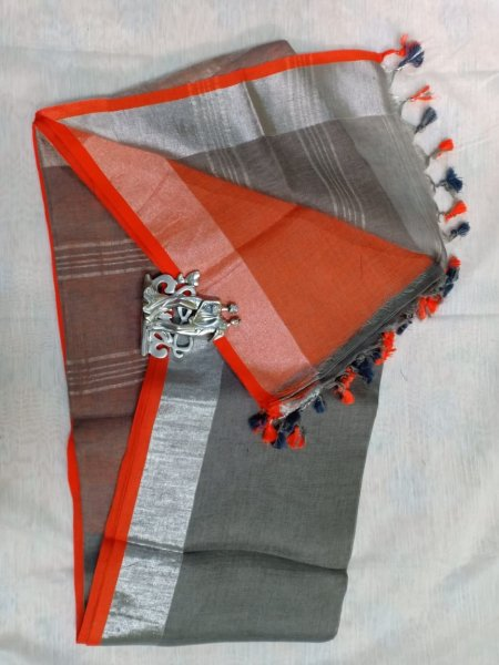 Grey color with red border linen saree