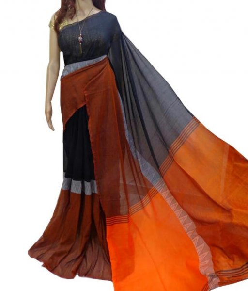 Madhamoni Black & Orange Cotton Saree