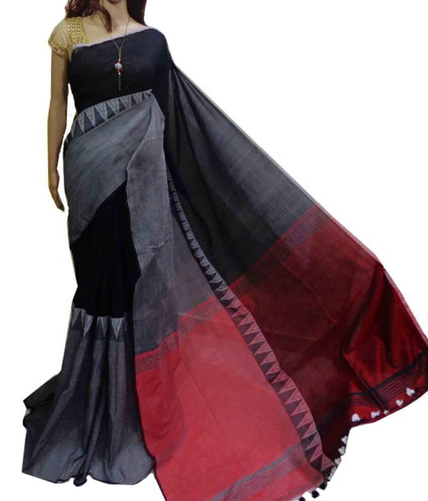 Madhyamoni Black & Grey Cotton Saree
