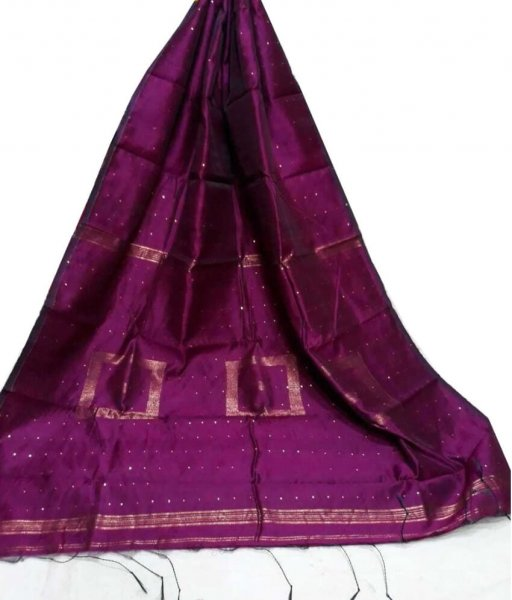 Magenta Cotton Silk Saree