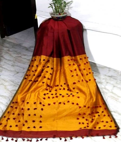 Maroon & Yellow Pallu Pum Pum Saree
