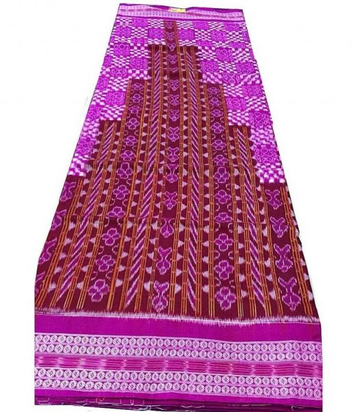 Maroon & Pink Sambalpuri Cotton Saree