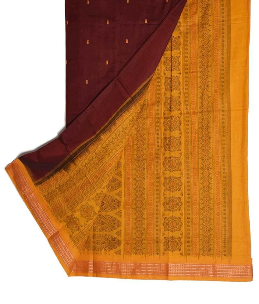 Maroon & Yellow Bomkai Saree