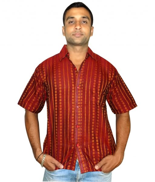 Maroon Cotton Sambalpuri Shirt