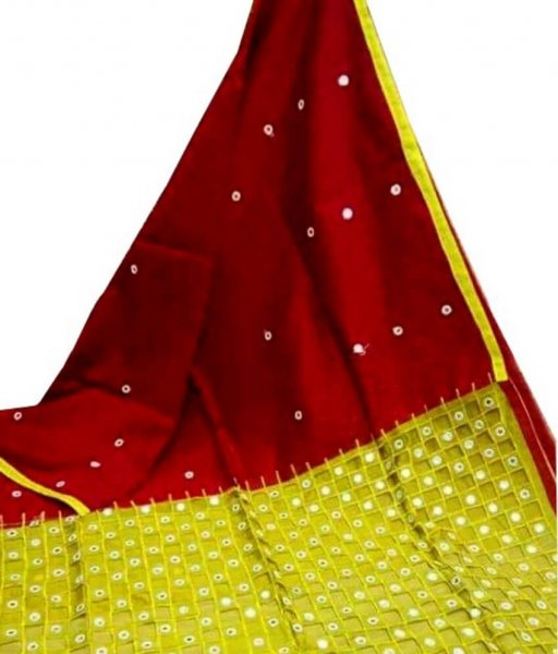Maroon & Yellow Cotton Silk Cut Work Saree