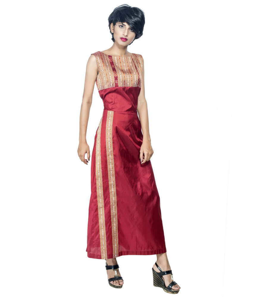 Mid-Length Ikat Silk Dress